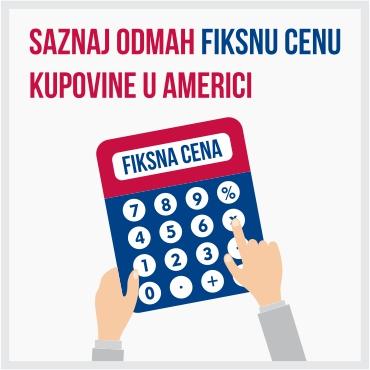 Ilustracija kalkulatora za obračun cene kupovine u Americi