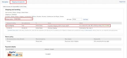 ebay sekcija sa cenom transporta