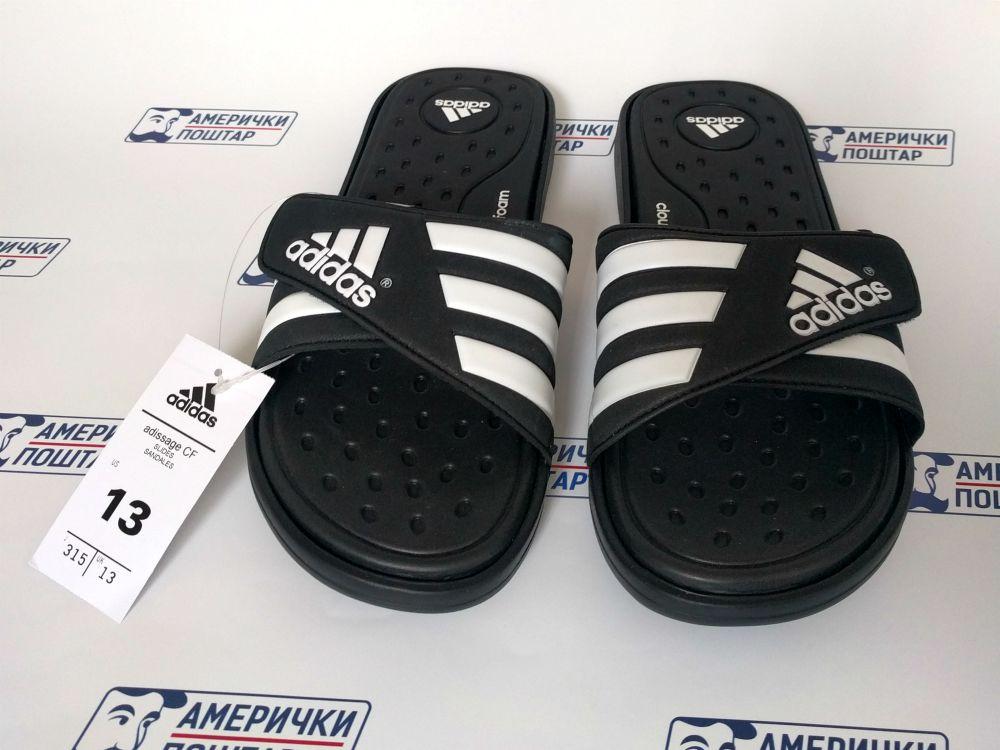Adidas crne papuče broj 13 US na Američki poštar pozadini