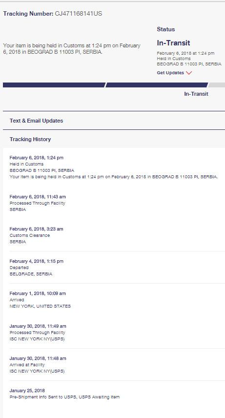 USPS Priority Mail statusi isporuke paketa do Srbije