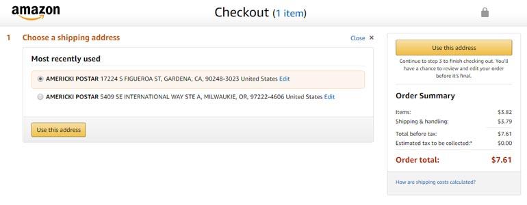 Amazon plaćanje i izbor adrese isporuke