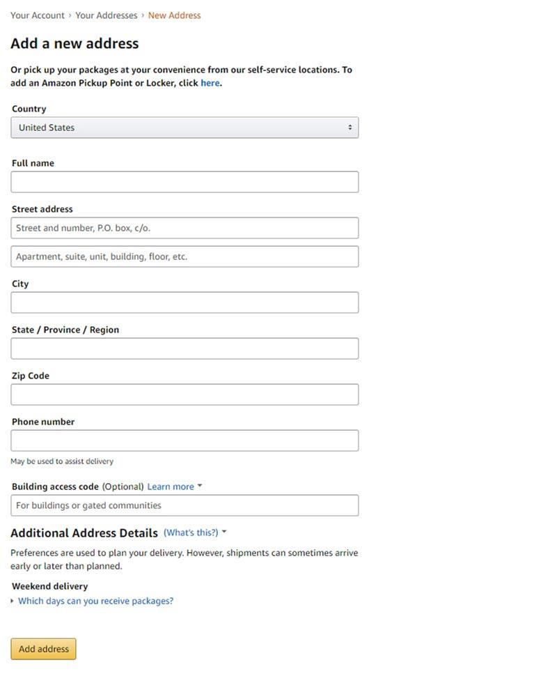Amazon forma za dodavanje adrese