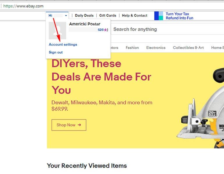 eBay podešavanje naloga