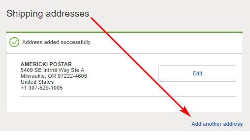 Američka adresa na eBay-u