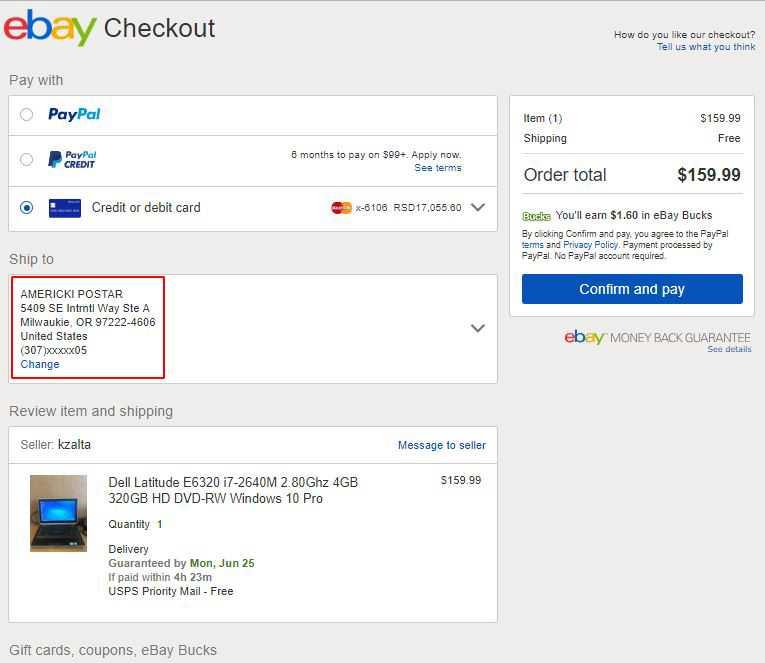 eBay američka adresa